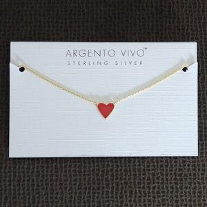 Argento Vivo Stationary Red Enamel Heart❤️Necklace